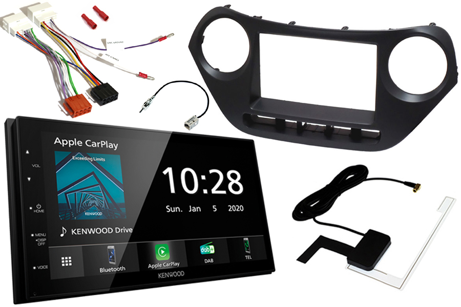 Hyundai I10 (2013 Onwards) Complete Double DIN fitting kit and Kenwood DMX5020DABS (Carplay/Android)
