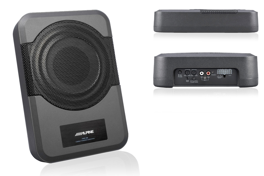 Alpine PWE-S8 Powered 8-inch (20cm) Flat underseat subwoofer with built-in 240W amplifier