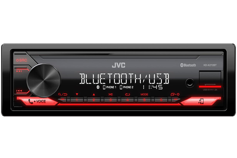 JVC KD-X272BT (Mechless) Single DIN car stereo head unit with Bluetooth and USB