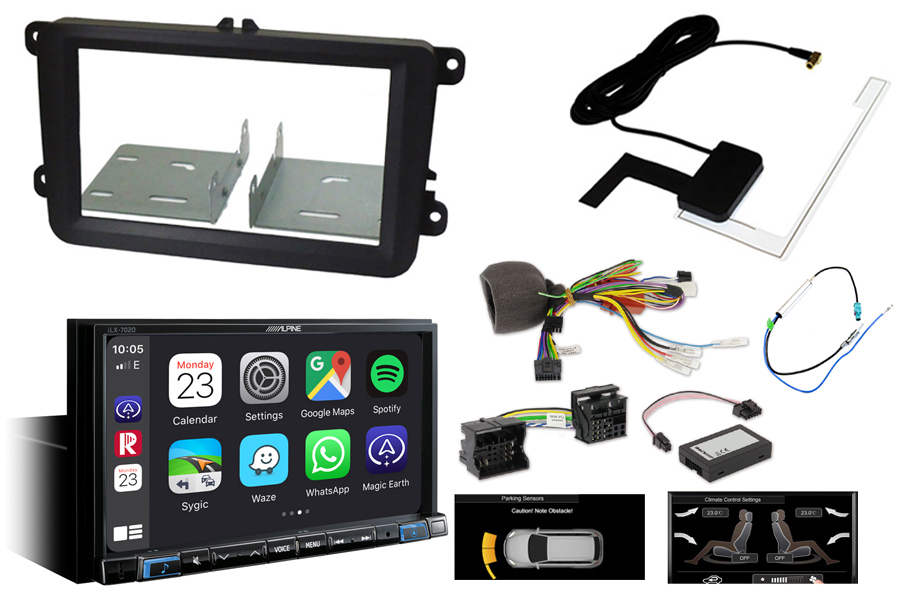 Volkswagen audio kit with Alpine ILX702 (Carplay/ Android) and park Pilot OPS display retention