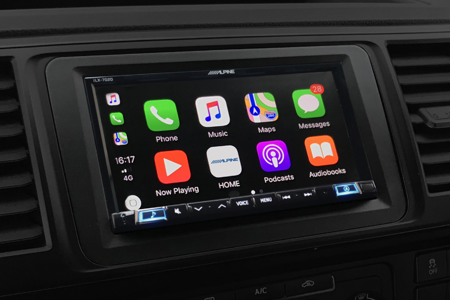 VW  T6 audio kit with Alpine ILX702 (Carplay/ Android) and park Pilot OPS display retention