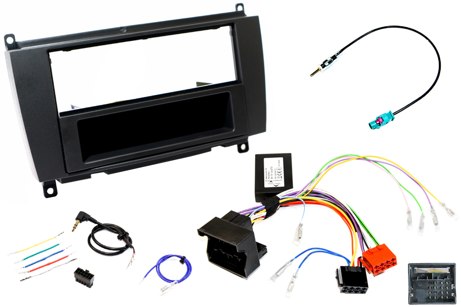 Mercedes CLK (C209) facelift (2005-2009) Single DIN car stereo fitting kit (MATT BLACK)