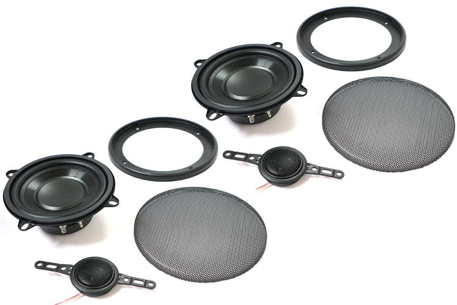 130mm (5 inch) 4ohm, 100W 2-Way speaker, tweeter and grill set